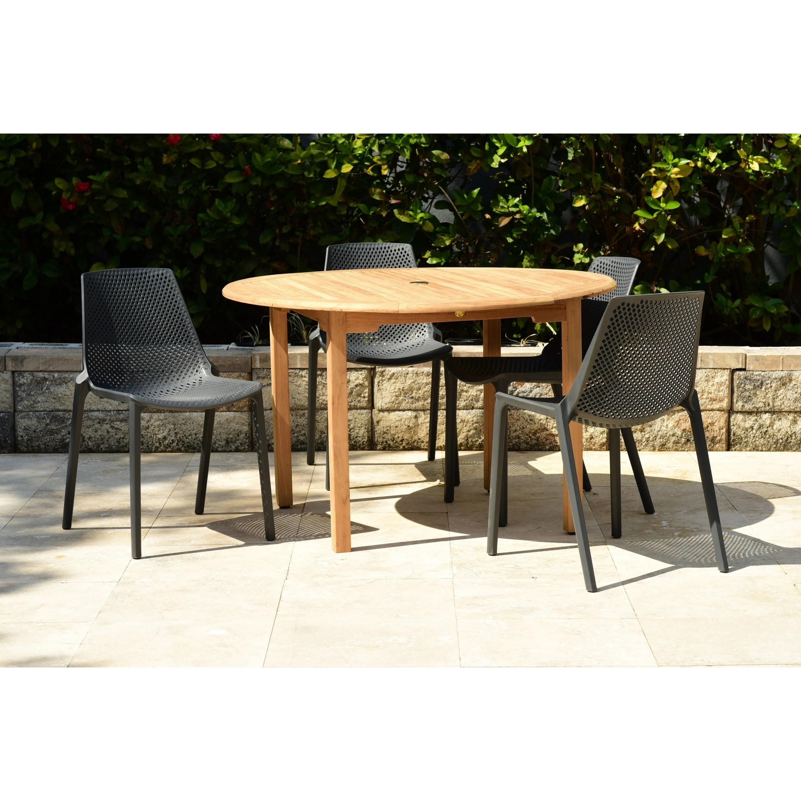 amazonia teak nassau white 5 piece round sidechair patio dining set