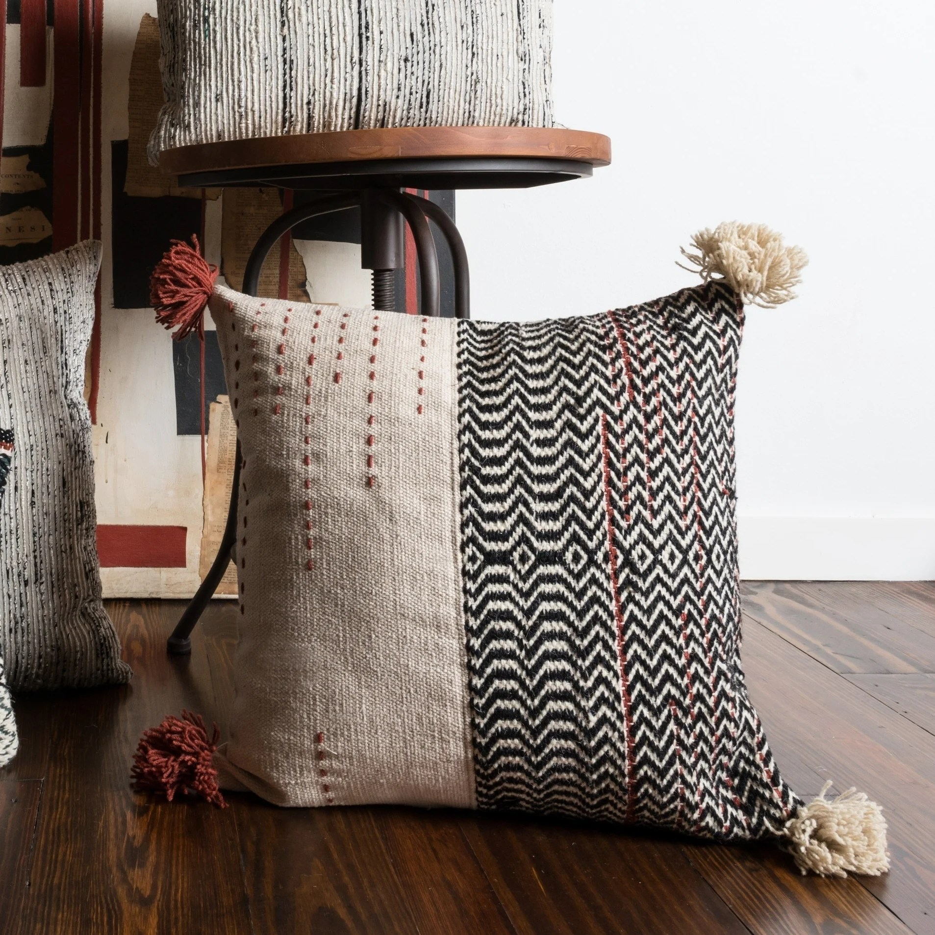 woven ivory black bohemian geometric throw pillow or pillow cover