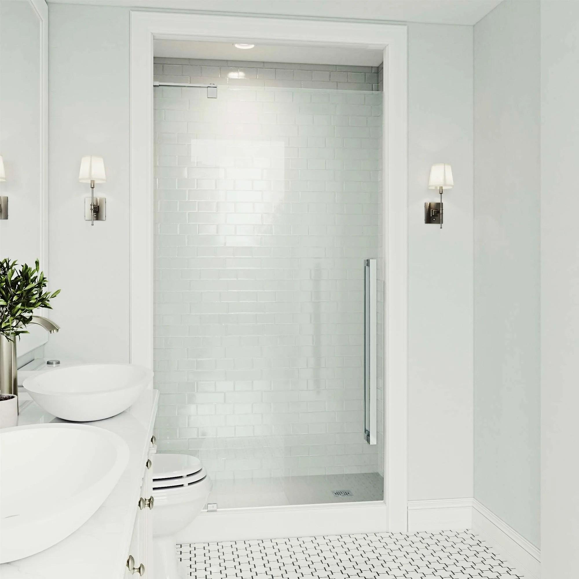 Vigo Cameo Clear 42 Inch Adjustable Frameless Pivot Shower Door