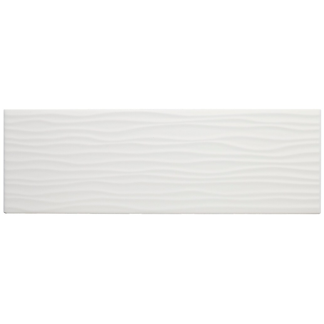 sophisticated 4x12 inch glazed ceramic wave accent tile in matte biscuit 4x12