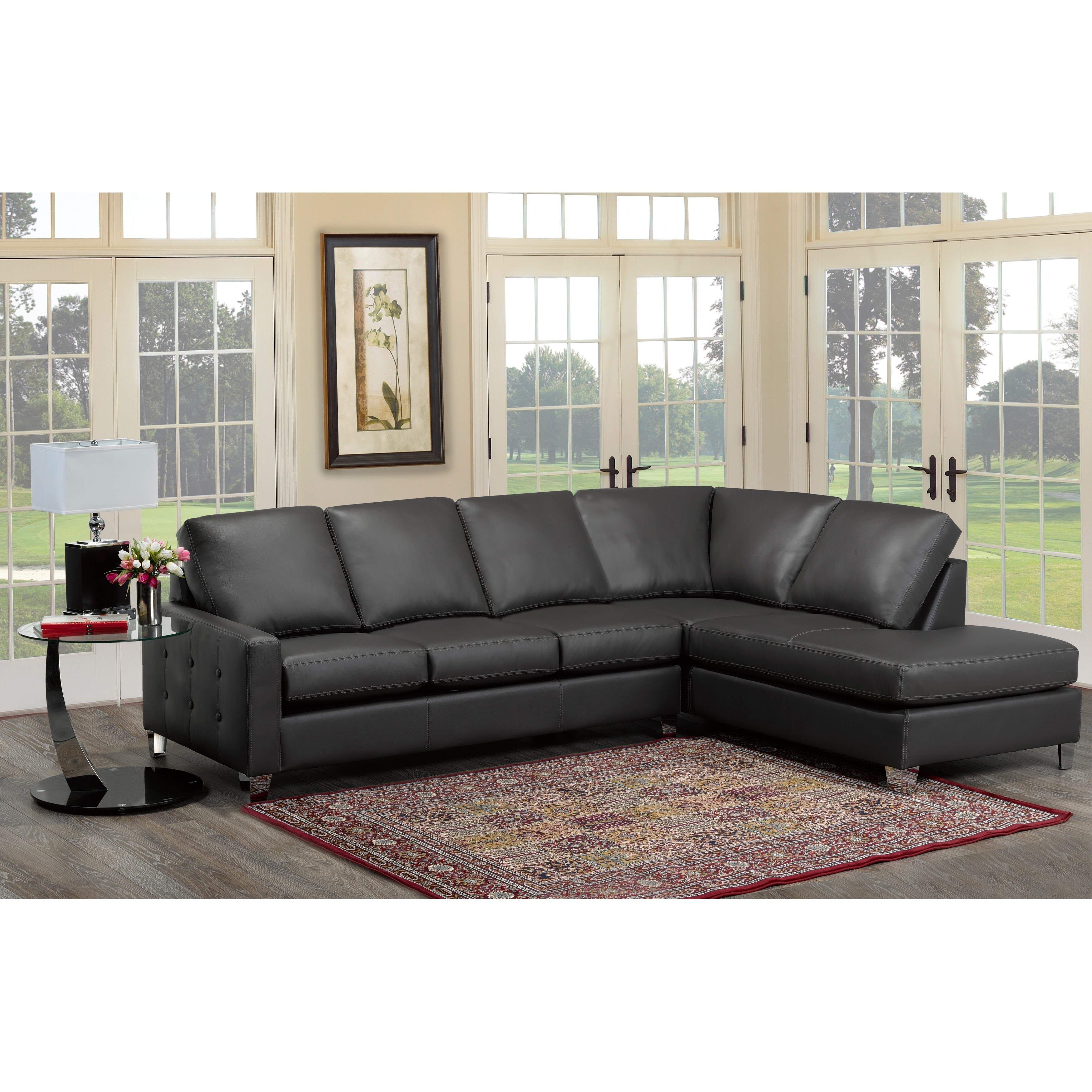 cy dark grey top grain italian leather tufted sectional sofa