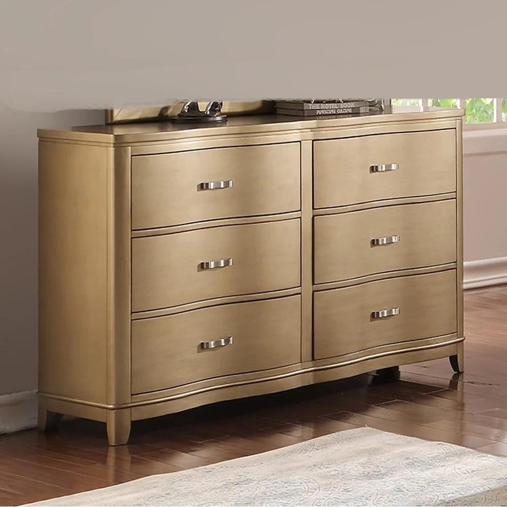 pine wood spacious 6 drawer dresser gold