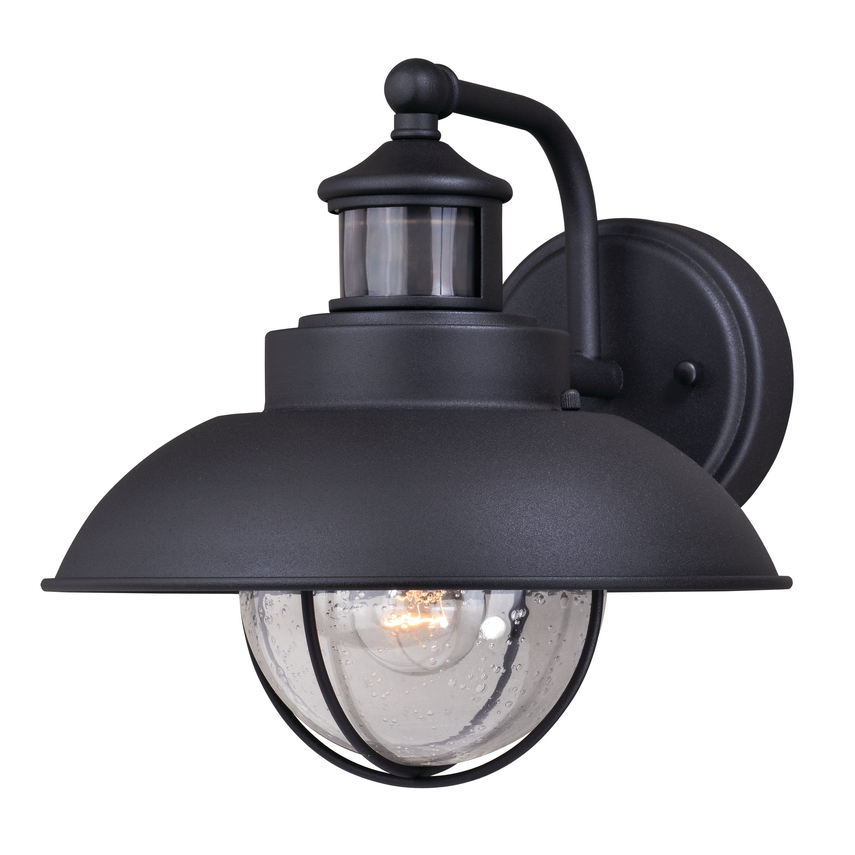 Shop Black Friday Deals On Harwich Black Motion Sensor Dusk To Dawn Coastal Outdoor Wall Light 10 In W X 10 In H X 12 In D Overstock 20877008