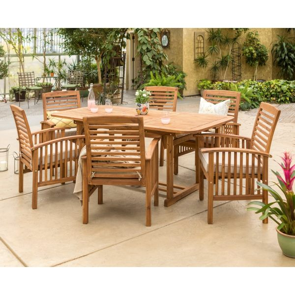 Buy Wood Outdoor Dining Sets Online at Overstock com   Our Best     The Gray Barn Bluebird 7 piece Acacia Wood Patio Dining Set