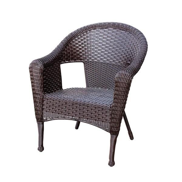 jeco clark espresso metal resin wicker single chair