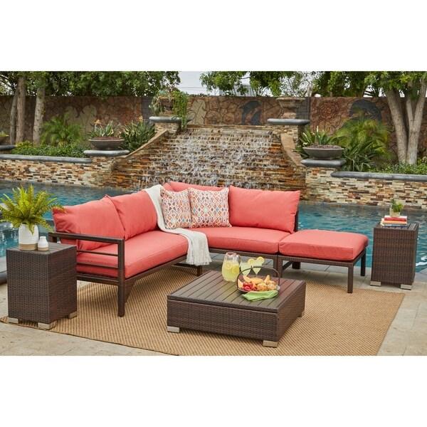 Shop Handy Living Aldrich Brown Indoor/Outdoor Sectional ... on Outdoor Living Shop id=15012