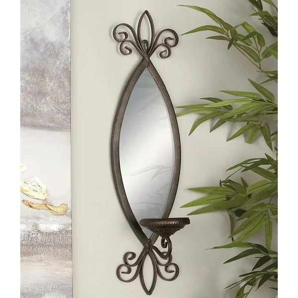 Shop Copper Grove Chatfield Wall Mounted Bronze Mirror ... on Wall Mounted Candle Sconce id=30605