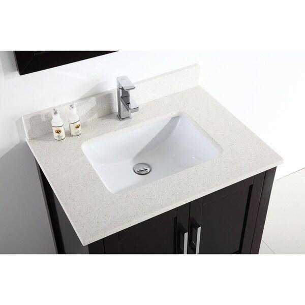 Eviva caramel 24 inch teak mid century bathroom vanity with porcelain top and. 24 Inch Modern Freestanding Espresso Bathroom Vanity With Quartz Top Overstock 21160763