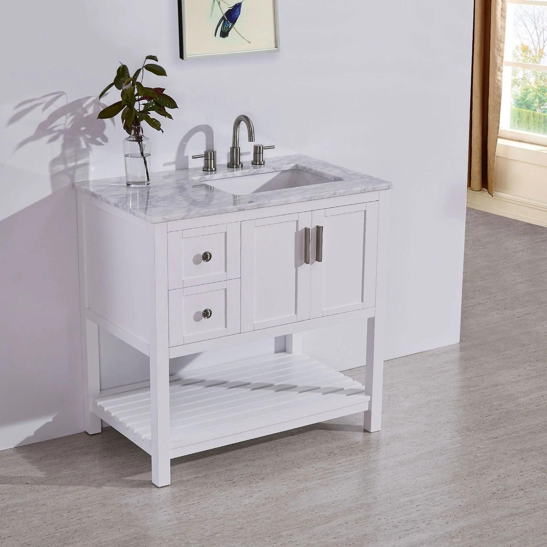 silkroad exclusive 36 stone top bathroom single vanity white cabinet off center sink
