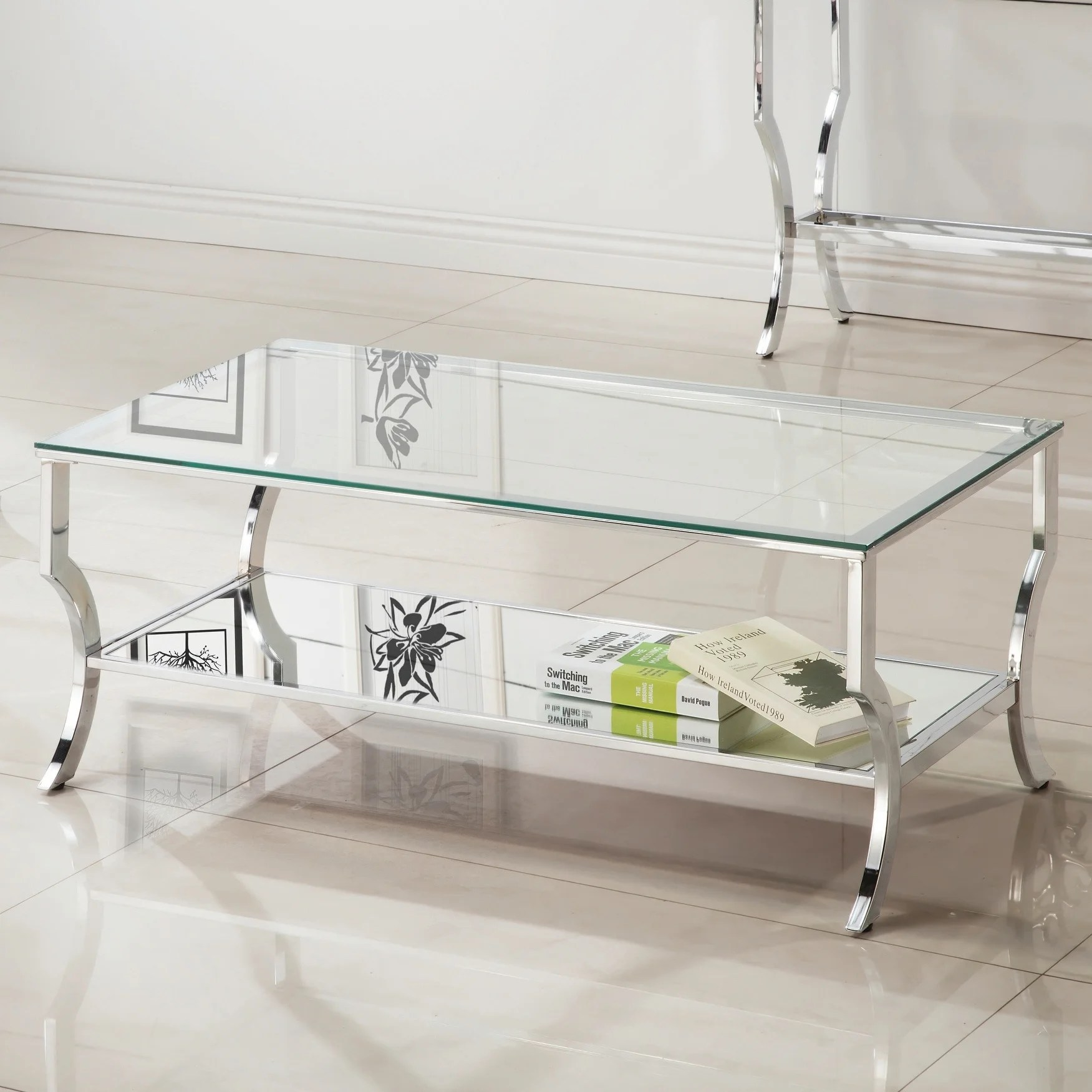 contemporary chrome glass top and mirror shelf coffee table 47 25 x 23 50 x 19 25