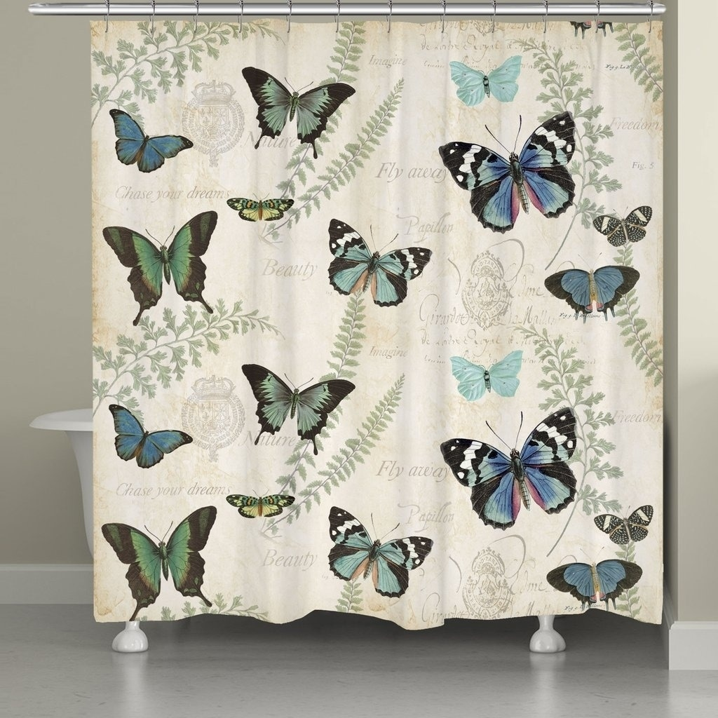 laural home elegant butterfly shower curtain
