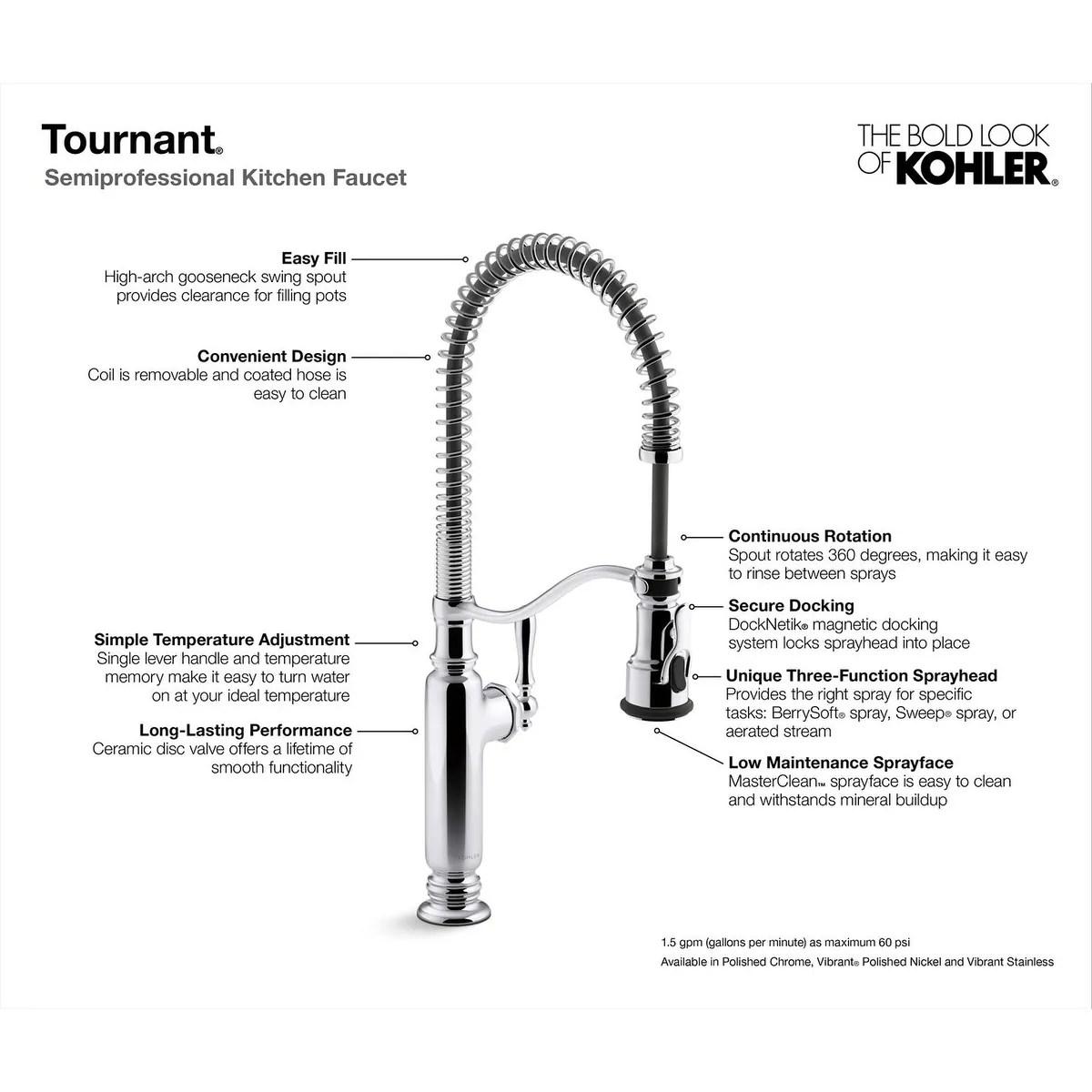 kohler tournant semiprofessional kitchen sink faucet