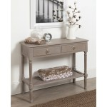Cayne Wood Console Table With Drawers And Woven Shelf Weathered Gray Overstock 21474247
