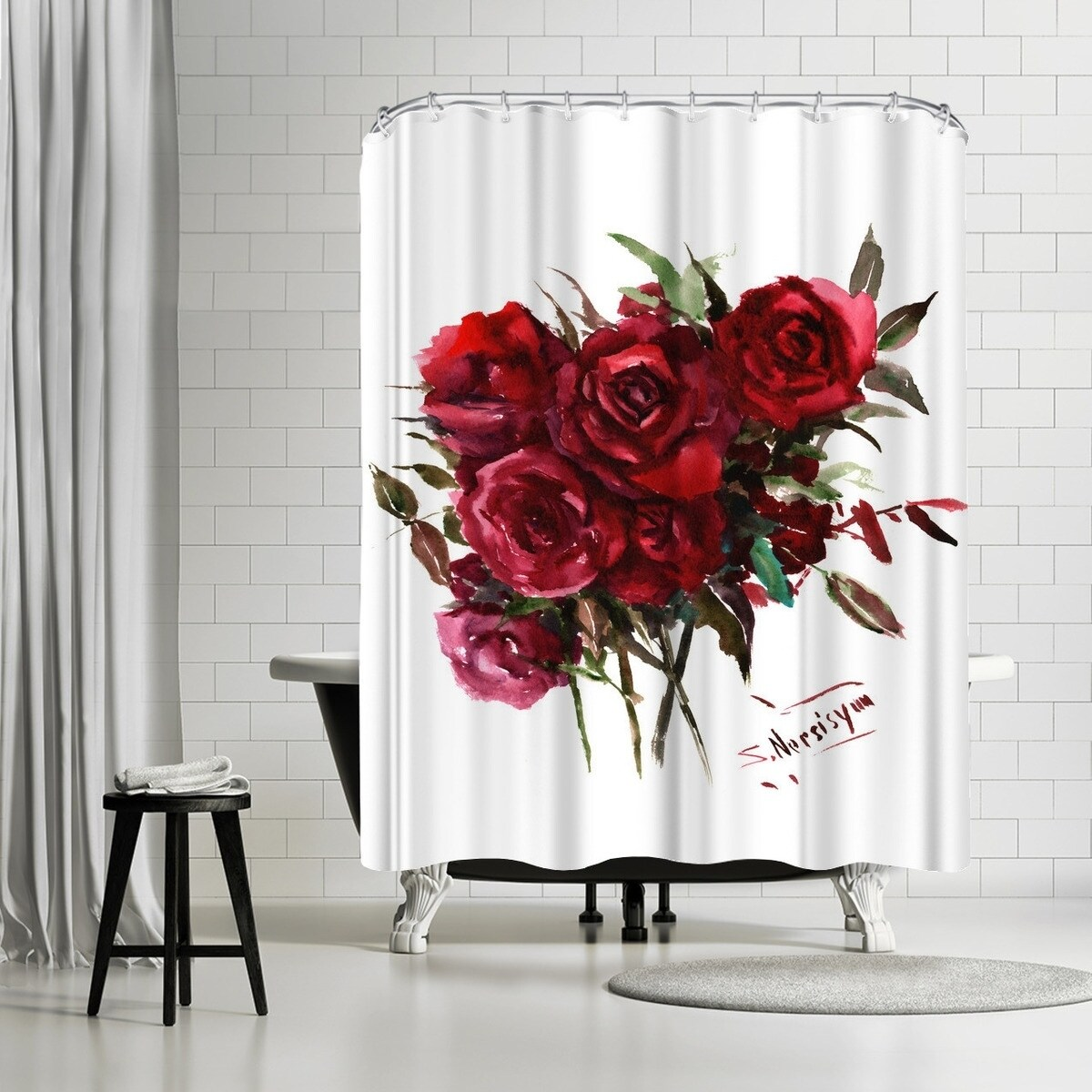 americanflat deep red burgundy roses shower curtain
