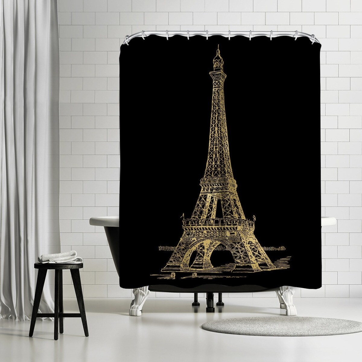 americanflat eiffel tower gold on black shower curtain