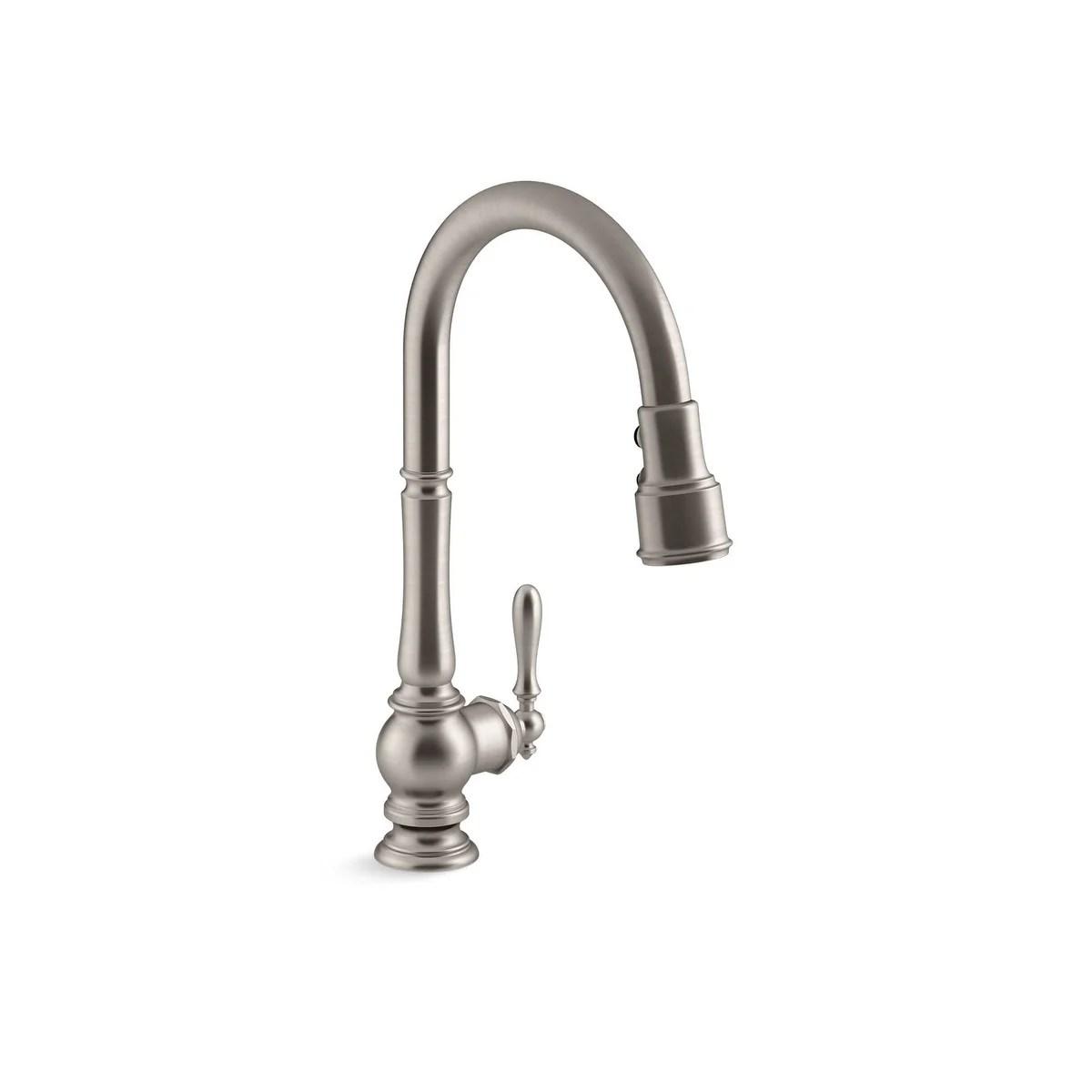 kohler artifacts pullout spray single hole kitchen faucet k 99259 2bz oil rubbed bronze
