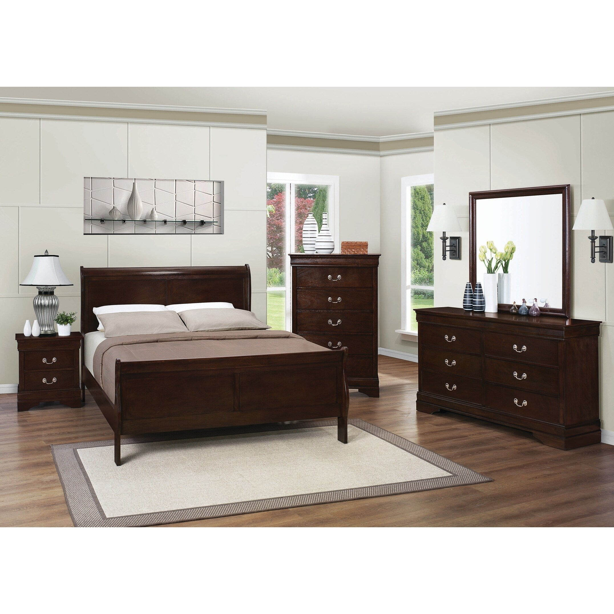 Buy Full Size Bedroom Sets Online at Overstock com   Our Best     Louis Philippe Warm Brown 4 piece Bedroom Set