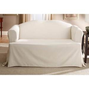 Buy Off White Sofa   Couch Slipcovers Online at Overstock com   Our     Sure Fit Cotton Classic T Cushion Sofa Slipcover