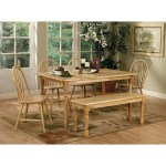 Damen Traditional Natural Brown 6 Piece Dining Set With Bench Overstock 21782225