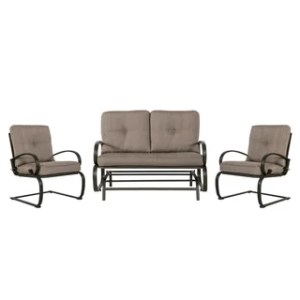 Buy Wrought Iron Outdoor Sofas  Chairs   Sectionals Online at     3 Piece Wrought Iron Conversation Set  Gradient Brown