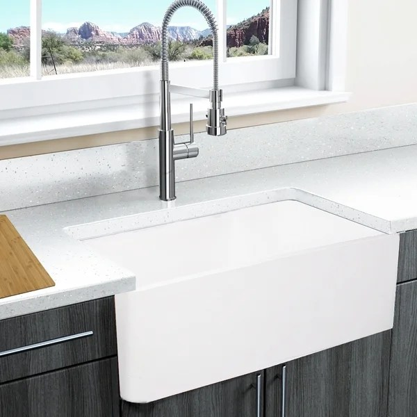 shop highpoint collection white solid surface reversible on farmhouse sink lowest price id=48118