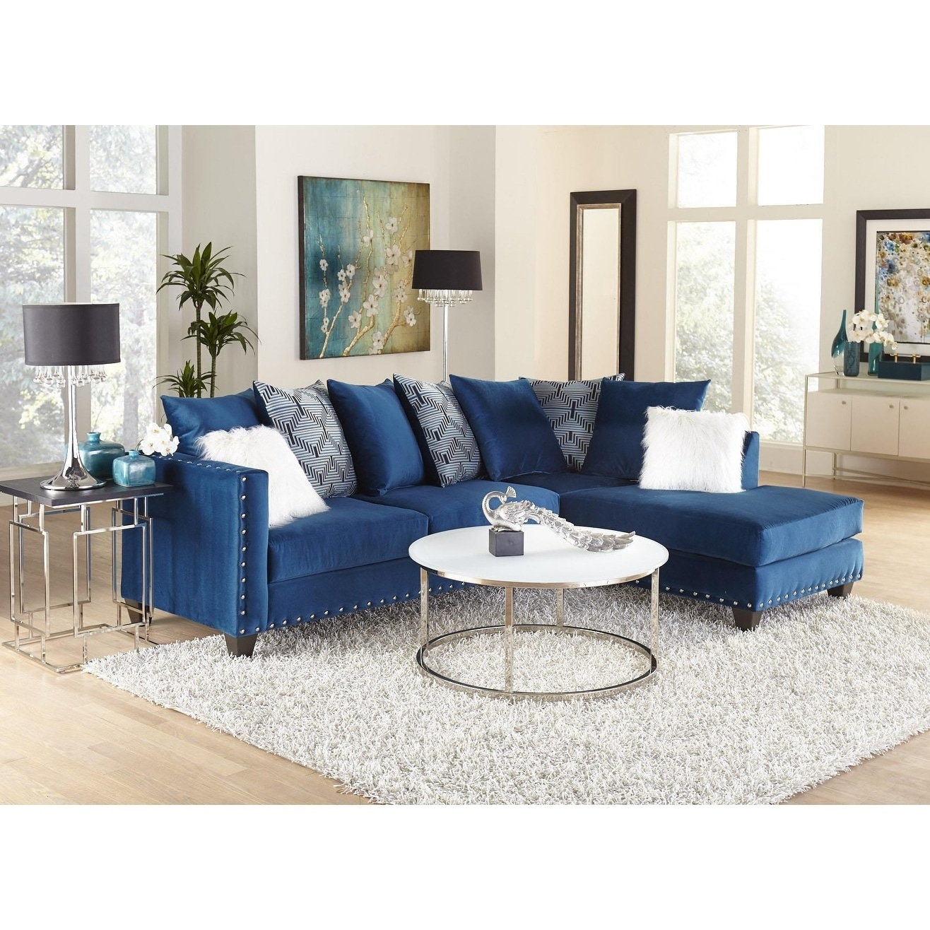 sofatrendz dakota sapphire blue sectional