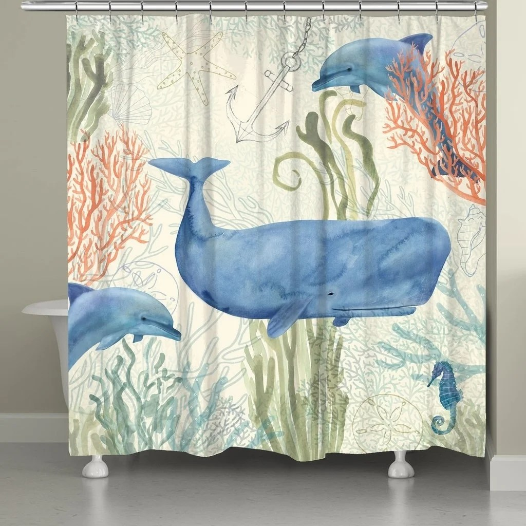 laural home whales in the ocean shower curtain