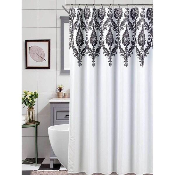 black white scroll shower curtain