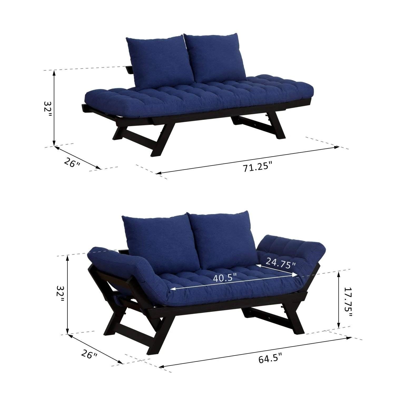 Homcom Adjustable Folding Convertible Single Sleeper Sofa
