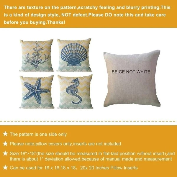 18inch ocean life pillow cover cotton