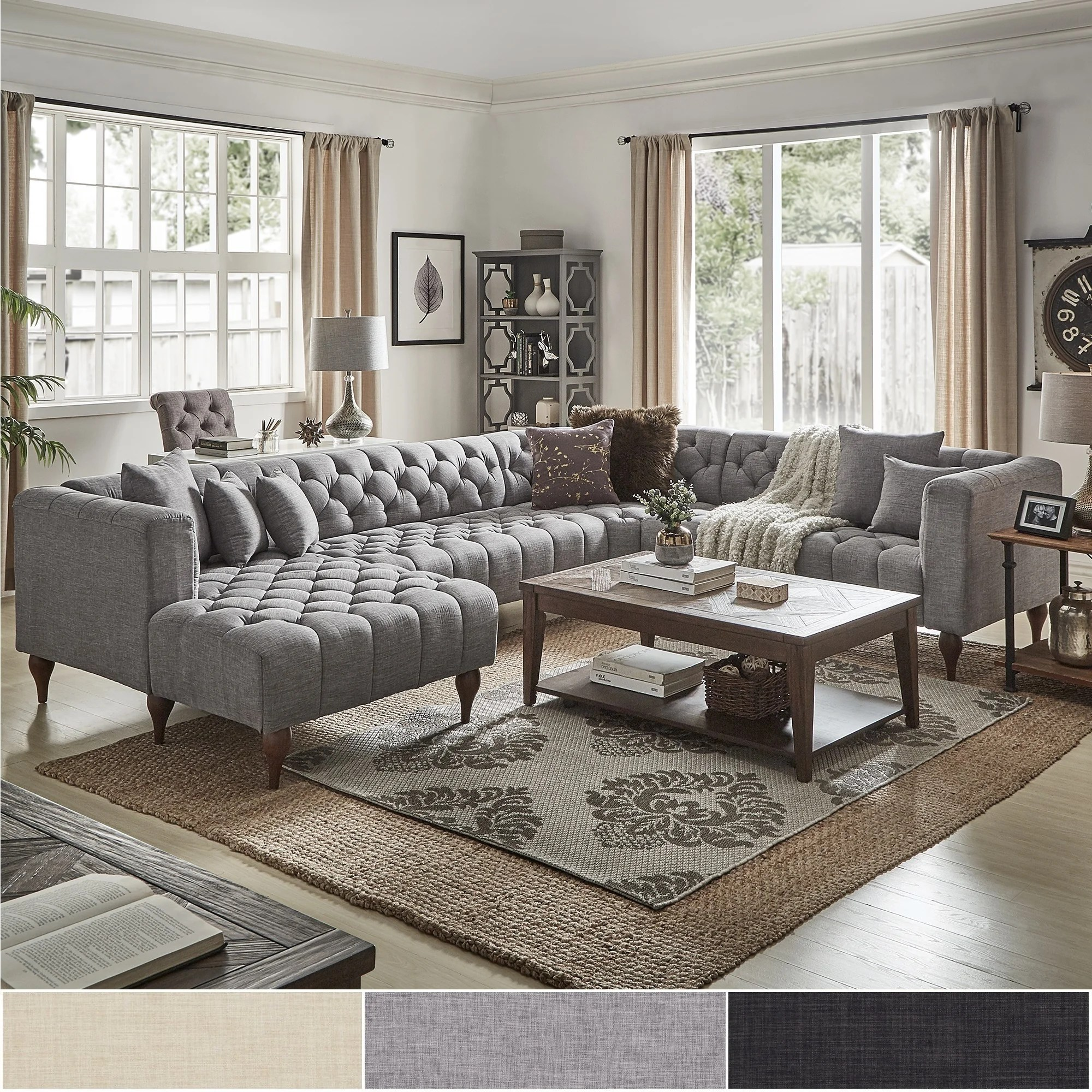 danise tufted linen upholstered tuxedo arm u shaped sectional with chaise by inspire q artisan