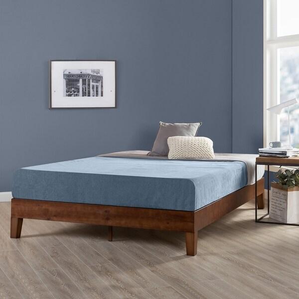 Shop Full Size 12 Inch Grand Solid Wood Platform Bed Frame Antique Espresso Crown Comfort Overstock 22378104