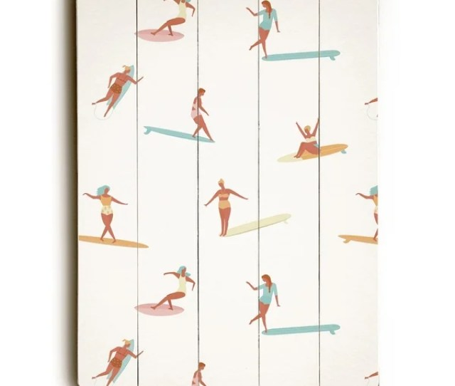 Surf Babes Tan 9x12 Solid Wood Wall Decor By Obc