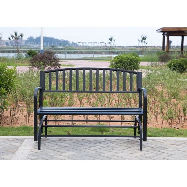steel black gliding park bench patio