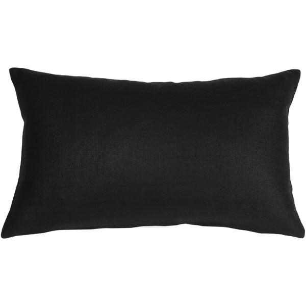 pillow decor tuscany linen black 12x20 throw pillow