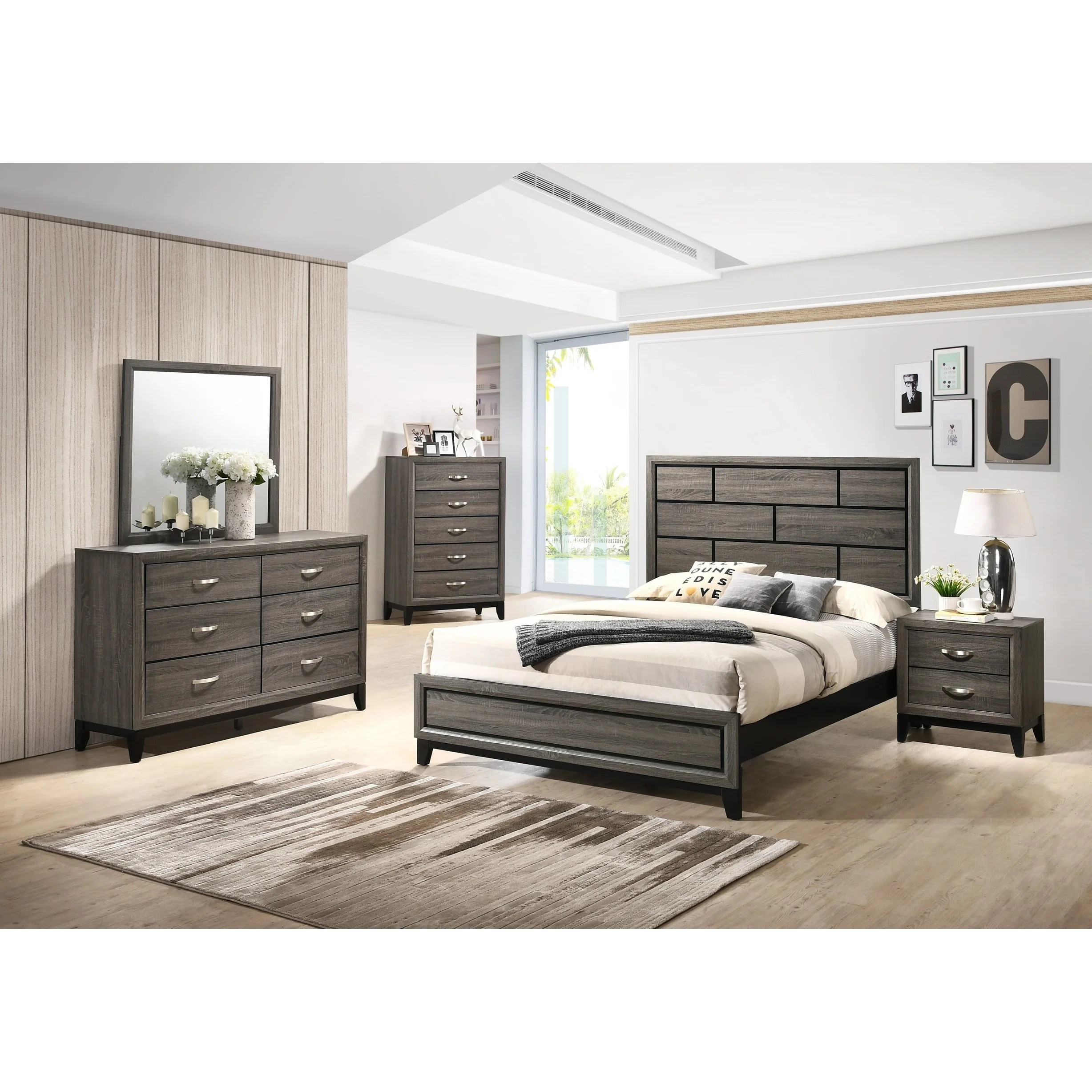 stout panel bedroom set with bed dresser mirror night stand chest