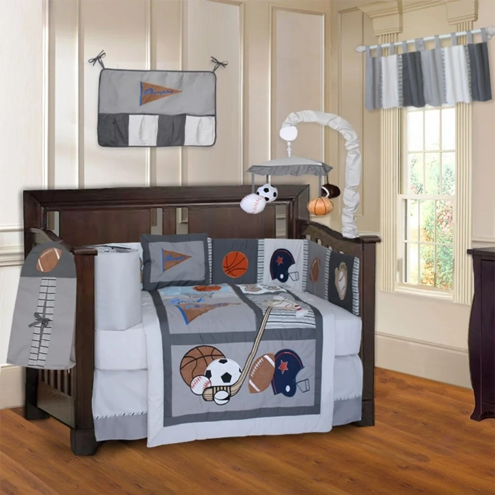 babyfad sports champion grey 10 piece crib bedding set