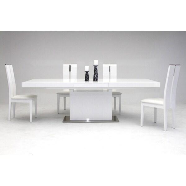 Shop Modrest Zenith Modern White Extendable Dining Table Overstock 22827408
