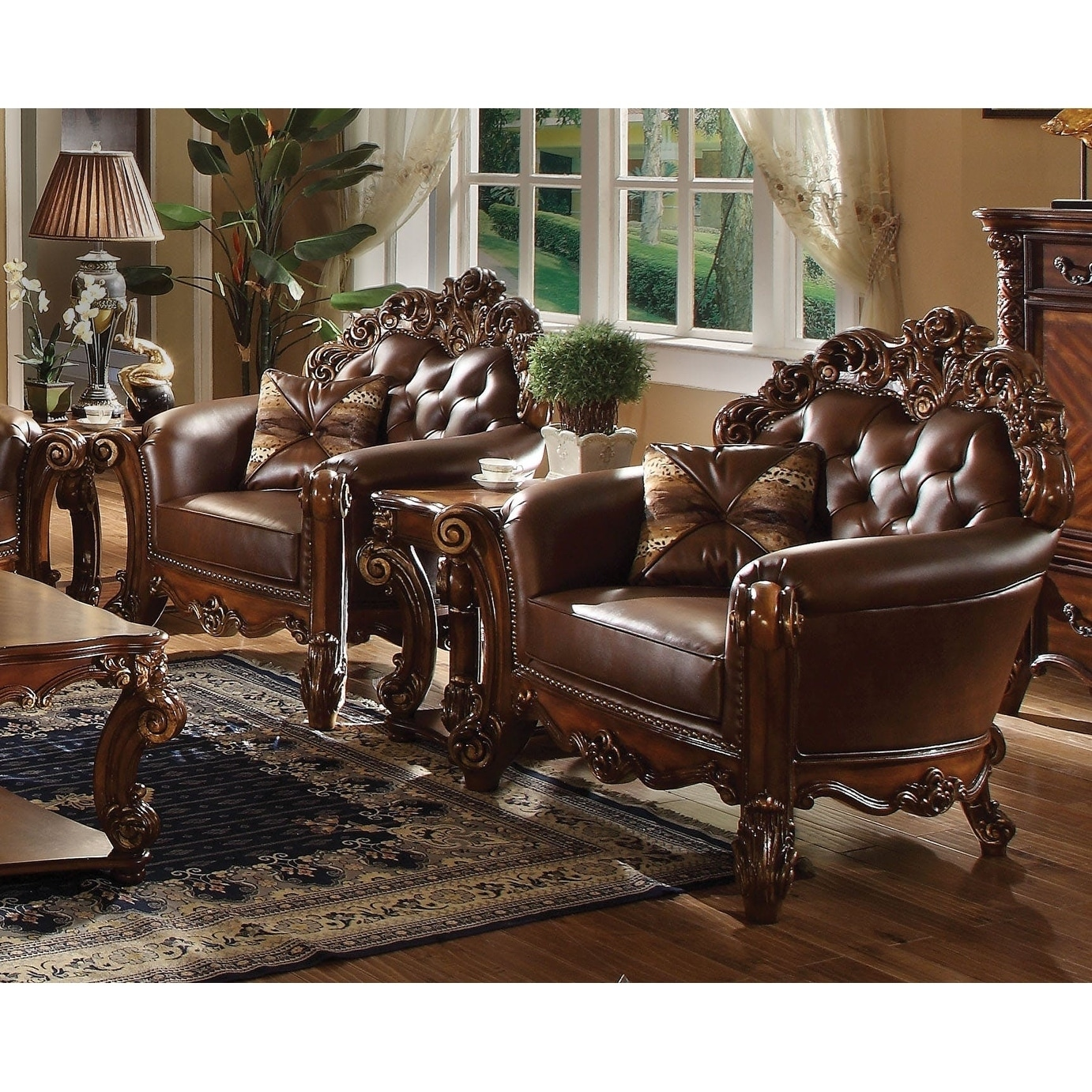 Imperial Looking Leather Tufted Chair With 1 Pillow In Cherry Brown