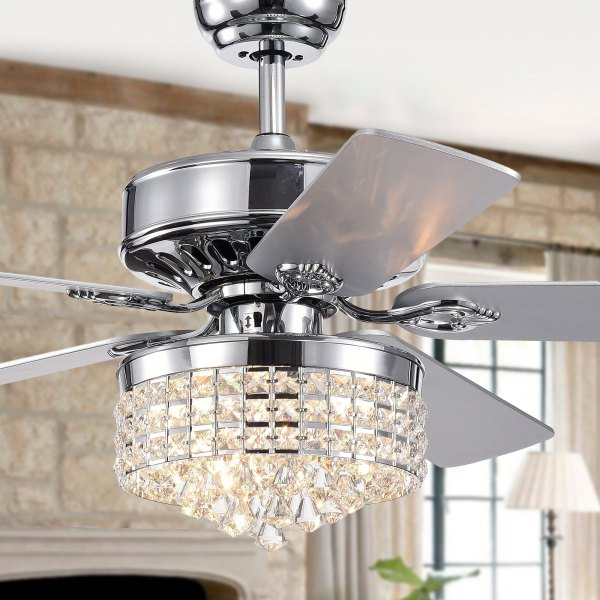 Buy Ceiling Fans Online at Overstock com   Our Best Lighting Deals Letta 52 Inch 5 Blade Chrome Lighted Ceiling Fans with Crystal Shade  Remote