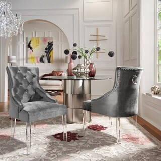 Shop Gina Velvet Tufted Dining Chair Set Of 2 With Acrylic Legs By INSPIRE Q Bold On Sale