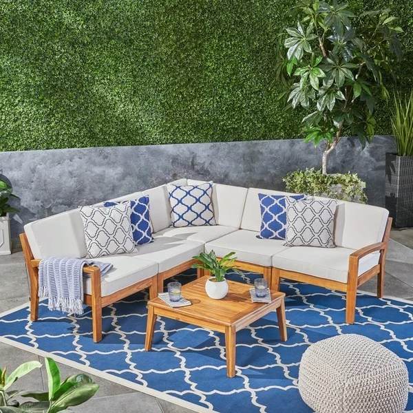 Shop Grenada Acacia Wood 5-Piece Set Sectional Sofa Set ... on 5 Piece Sectional Patio Set id=27867