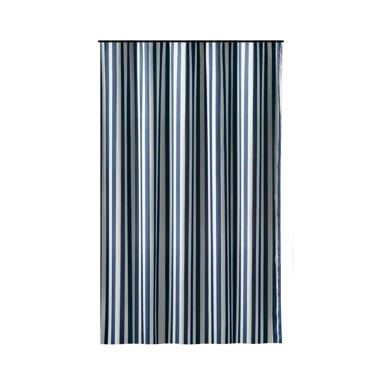 Gamma Extra Long Shower Curtain 78 X 72 Inch Deep Blue Stripes Fabric
