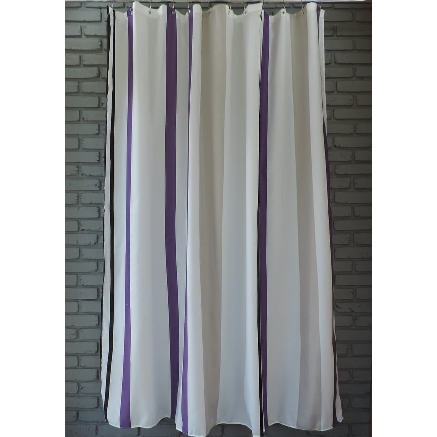 gamma extra long shower curtain 78 x 72 inch purple and gray stripes fabric