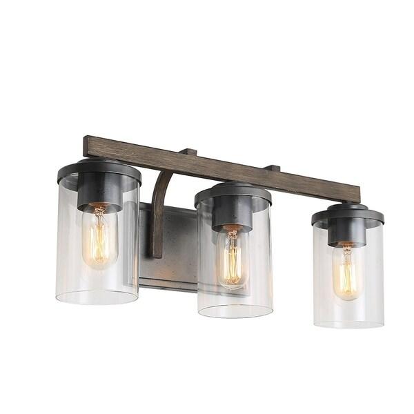 Shop LNC 3-Light Vanity Light Bathroom Wall Sconces Faux ... on Bathroom Wall Sconce Lighting id=72331