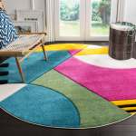 Details About Safavieh Hollywood Mid Century Modern Abstract Peacock Blue Fuchsia Rug