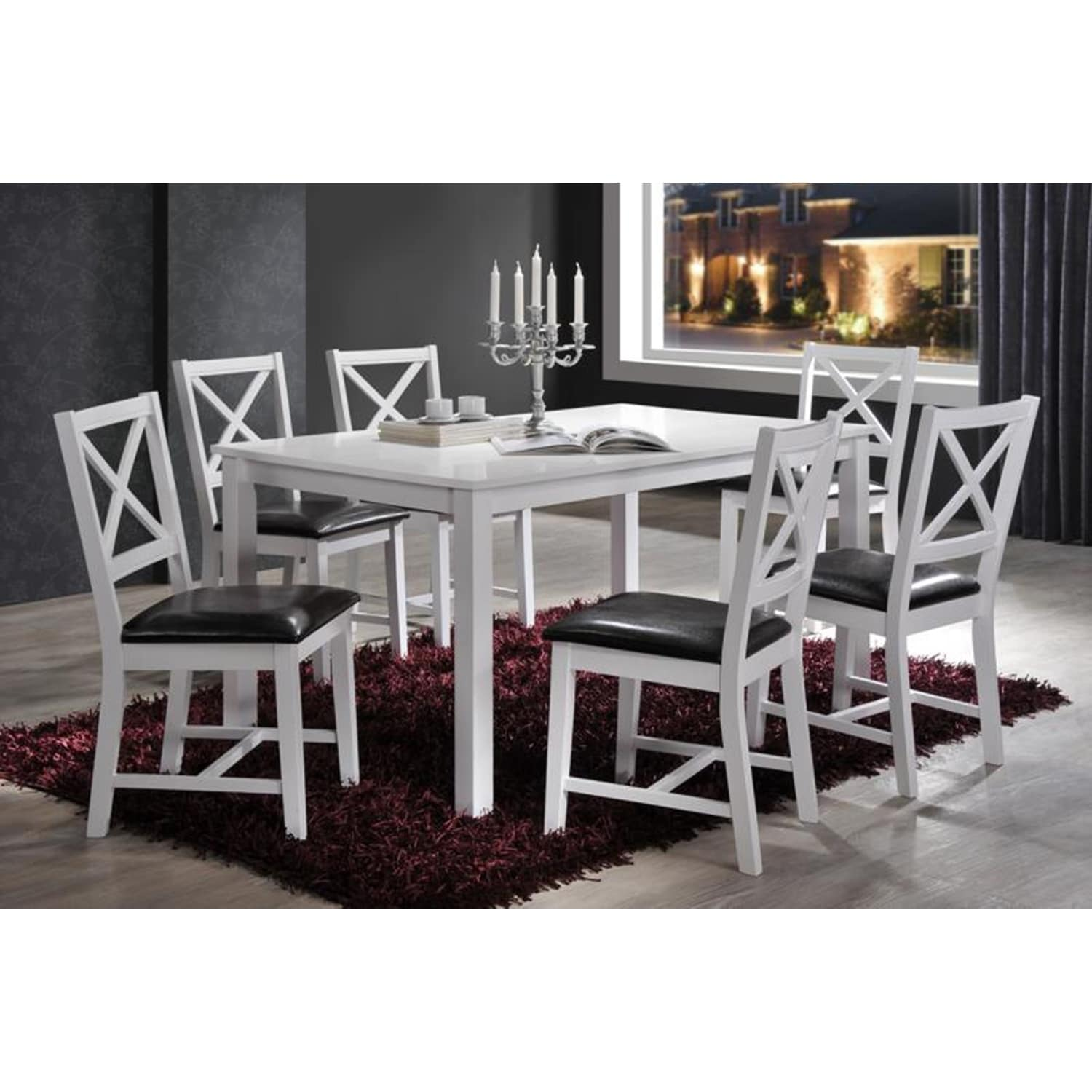 Indoor White And Black Cross Back 7pc Dining Set With A Solid Wood Rectangular Dining Table And 6 Upholstered Dining Chairs On Sale Overstock 23506683