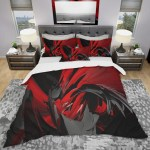 Designart Red And Grey Mixer Modern Contemporary Bedding Set Duvet Cover Shams On Sale Overstock 23507406