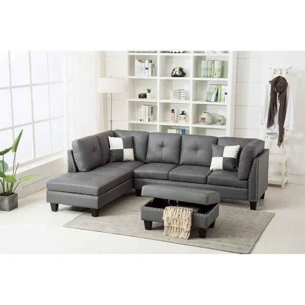 nail trim faux leather sectional sofa