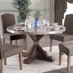 Furniture Of America Yoss Rustic Brown 54 Inch Marble Top Dining Table Overstock 23570125